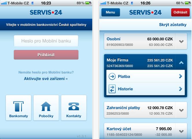 aplikace Servis 24 Mobilni banka