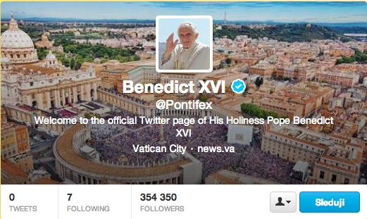 papez benedikt XVI na twitteru