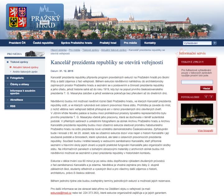 Tisková zpráva KPR ČR