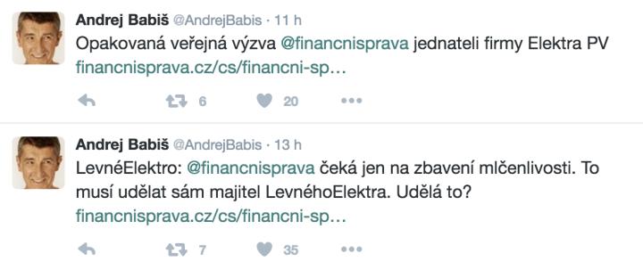 Andrej Babiš vyzývá levneELEKTRO.cz