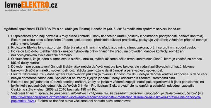 Vyjádření vedení levneELEKTRO.cz