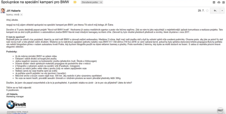 Nabídka BMW Invelt pro youtubery